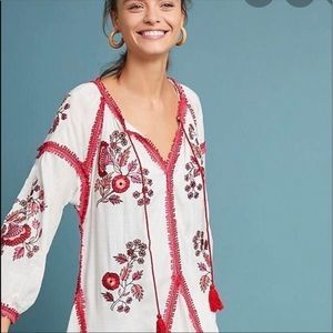 Anthropologie Ranna Gill Floral Embroidered Dress